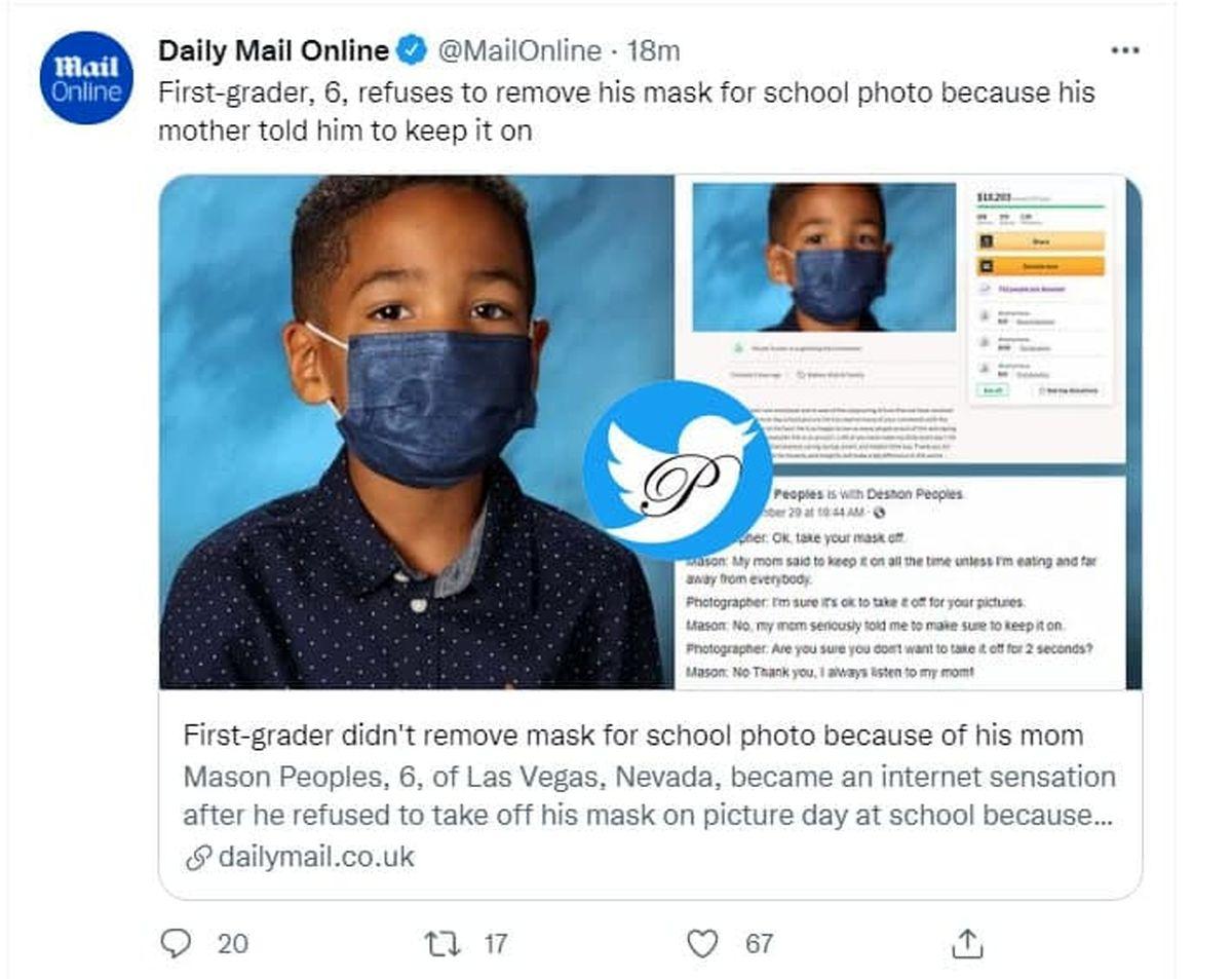 ماسک زدن بچه کلاس اولی سوژه شد +عکس