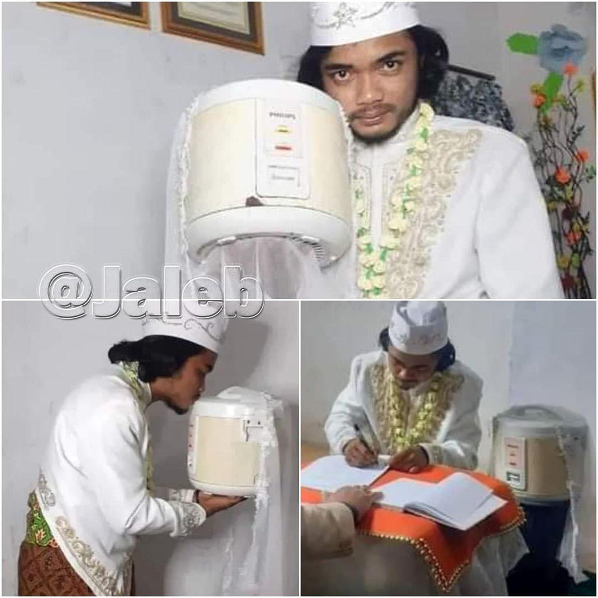 ازدواج عجیب مرد اندونزیایی با پلوپزش  +عکس