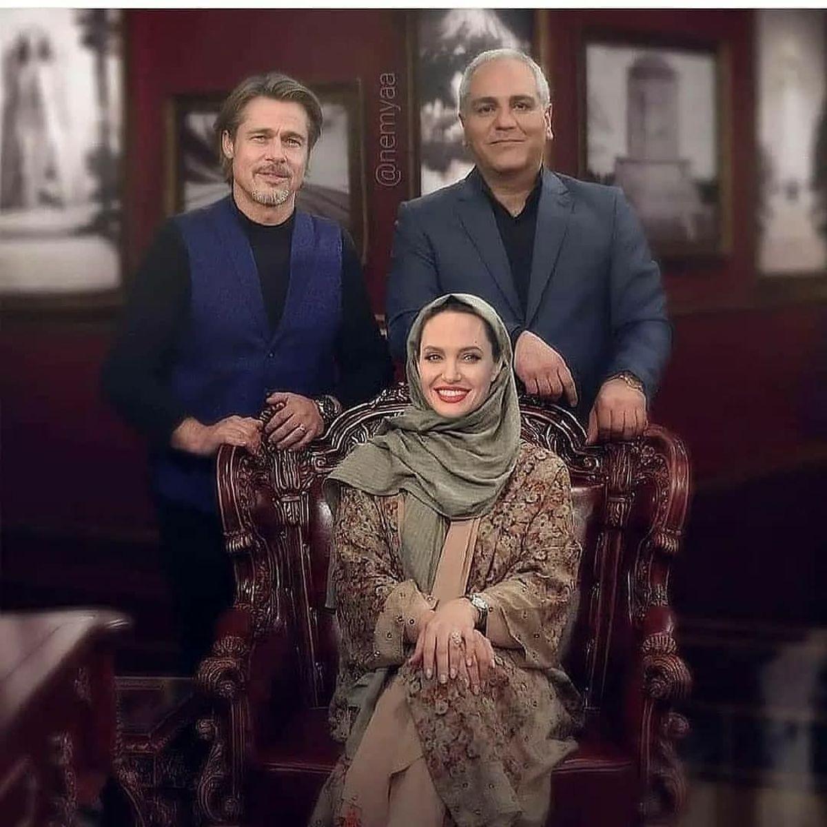 عکس یادگاری باور نکردنی از مهران مدیری در کنار آنجلینا جولی و برد پیت