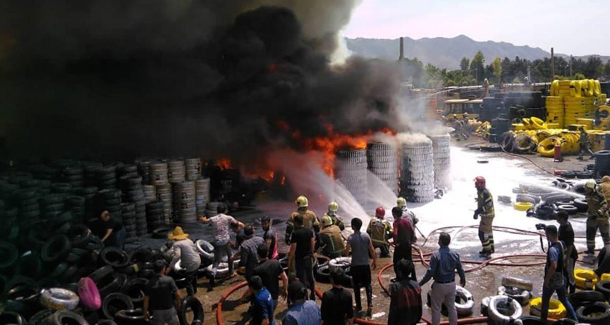 لحظه وحشتناک آتش سوزی در خیابان مشیریه تهران+فیلم لو رفته