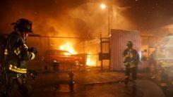 دیشب آتش مهاباد را در برگرفت+فیلم