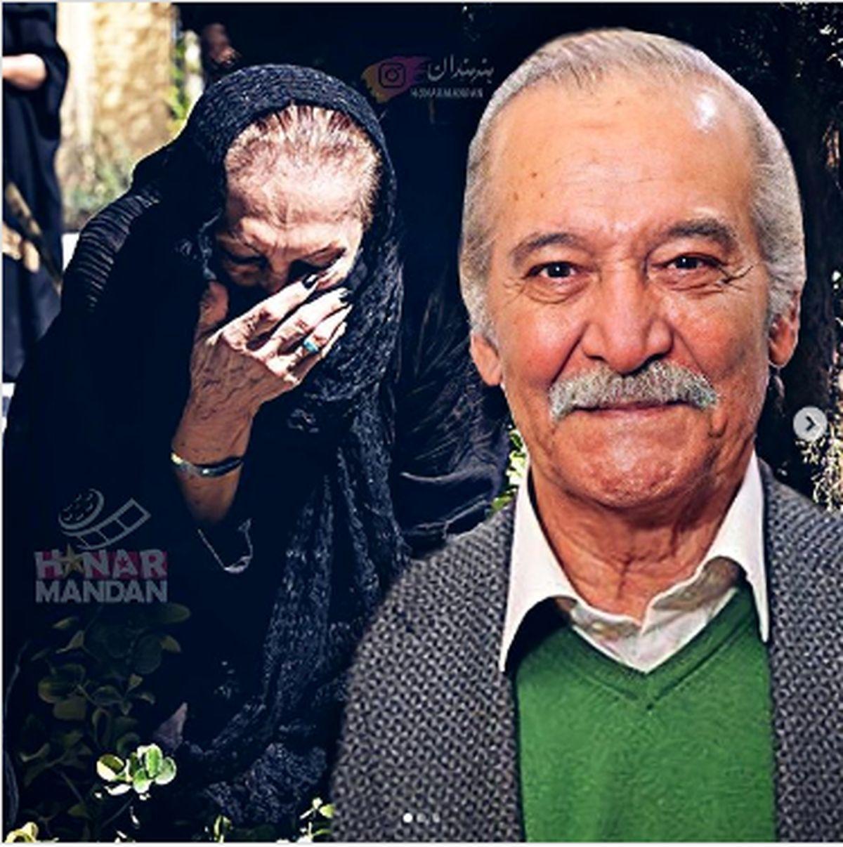 گریه های تلخ همسر سیامک اطلسی در روز خاکسپاری +عکس