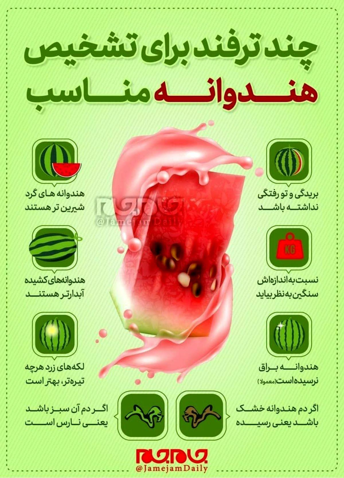 تشخیص هندوانه مناسب در شب یلدا+اینفوگرافی